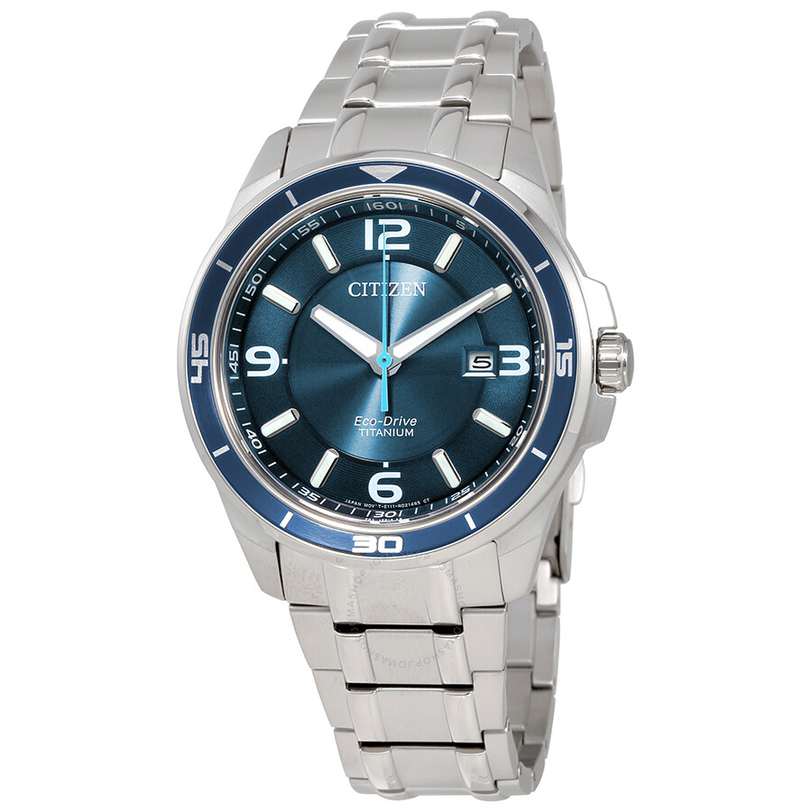 Citizen Ti+IP Blue Dial Titanium Mens Watch BM6929-56L