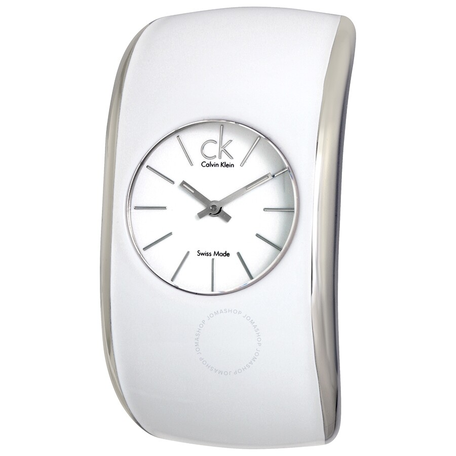 Calvin Klein Gloss White Enamel Dial Ladies Bangle Watch K6004101