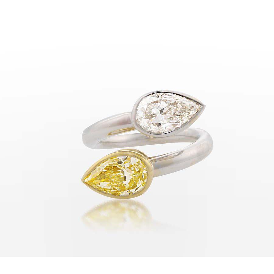 Classy Beautiful Bypass Pear Shaped Yellow and White Diamond Ring  3.16 CT
