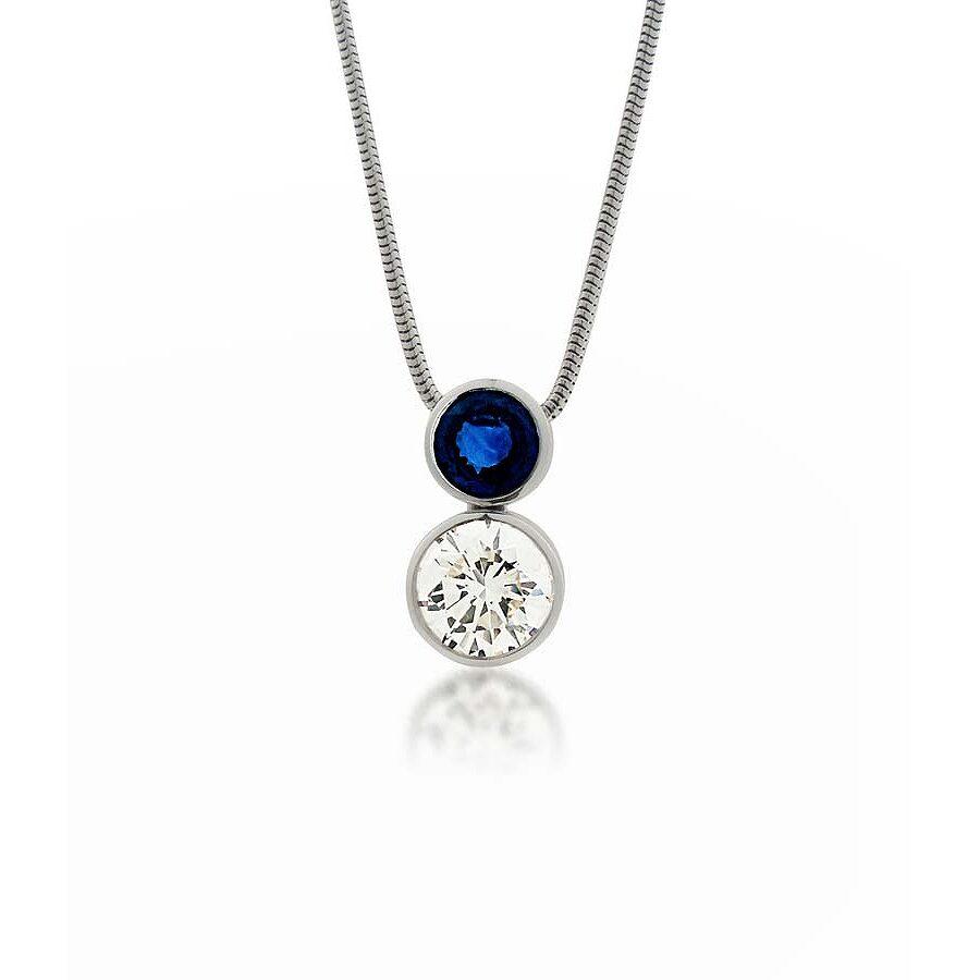 Classy Simple Diamond & Sapphire Pendant Necklace 4.89 CT