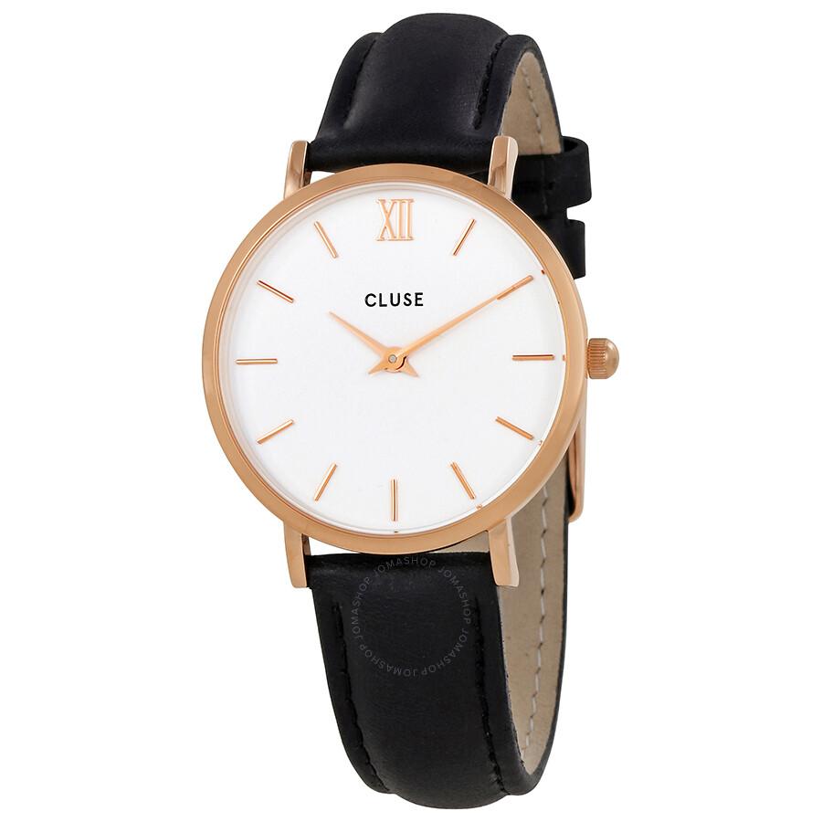 Cluse Minuit Black Leather Ladies Watch CL30003