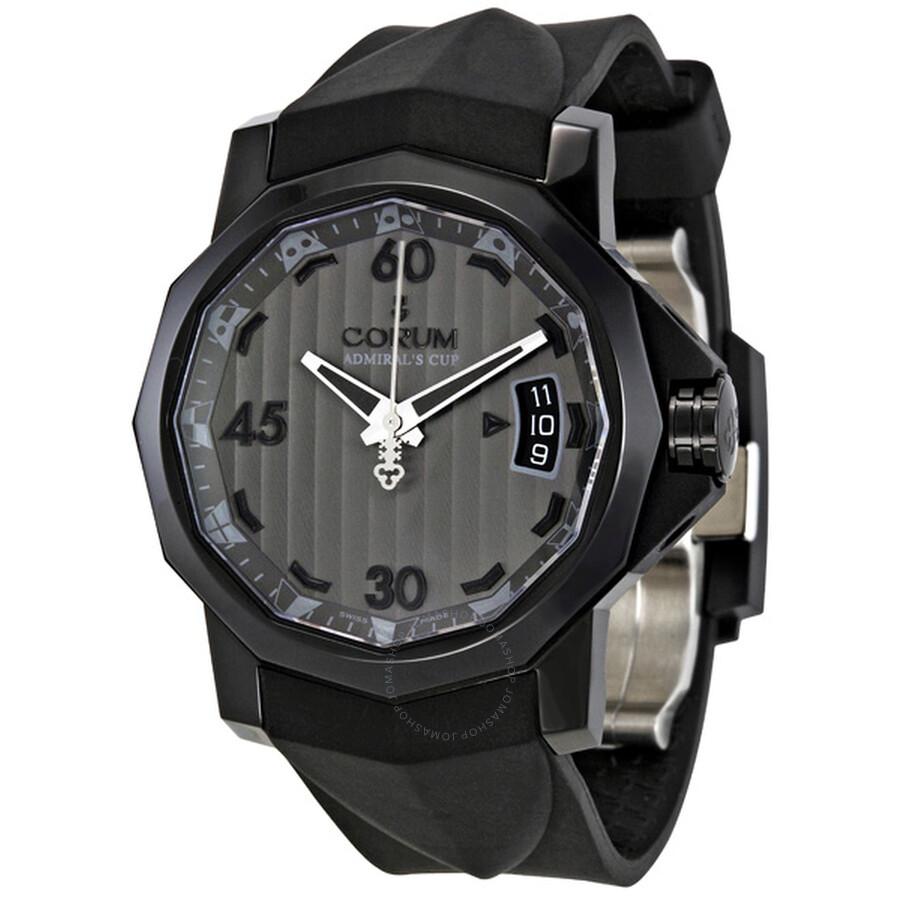 Corum Admirals Cup Grey Dial Black Rubber Mens Watch 08297198F371-AK58
