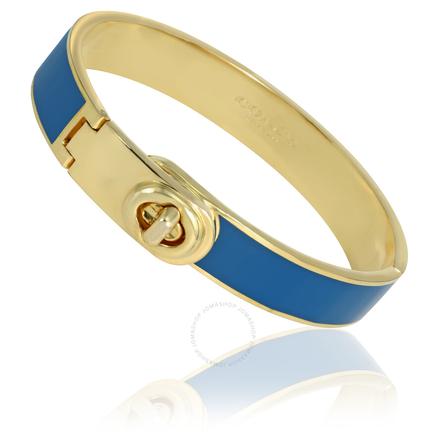 Coach Gold Tone Turn-Lock Hinged Bangle