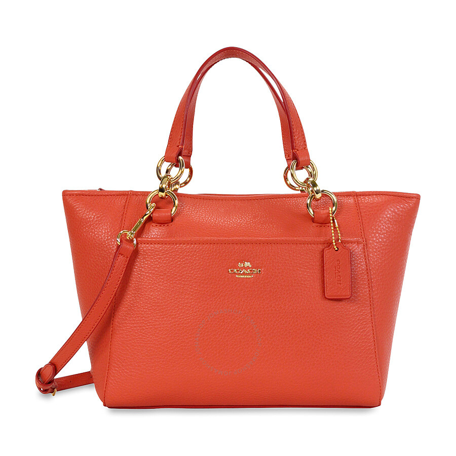 Coach Mini Ellis Pebbled Leather Tote - Light Gold/Watermelon