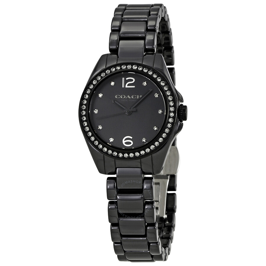 coach mini tristen black dial ladies ceramic watch 14502130 coach watches jomashop