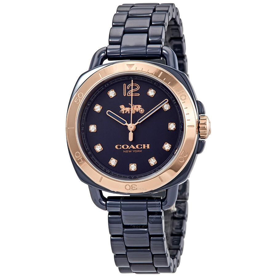 Coach tatum crystal blue dial ladies watch 14502753 coach watches jomashop for Crystal ladies watch