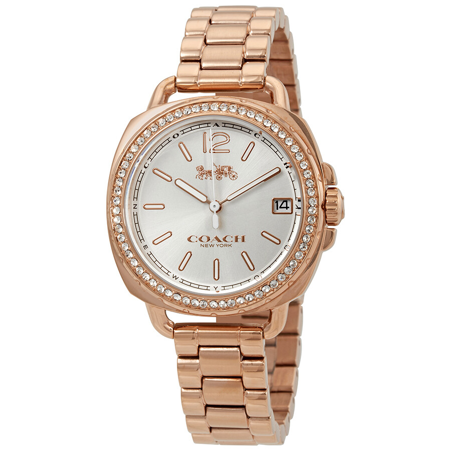 Coach Tatum Silver Dial Ladies Rose Gold Crystals Watch 14502644
