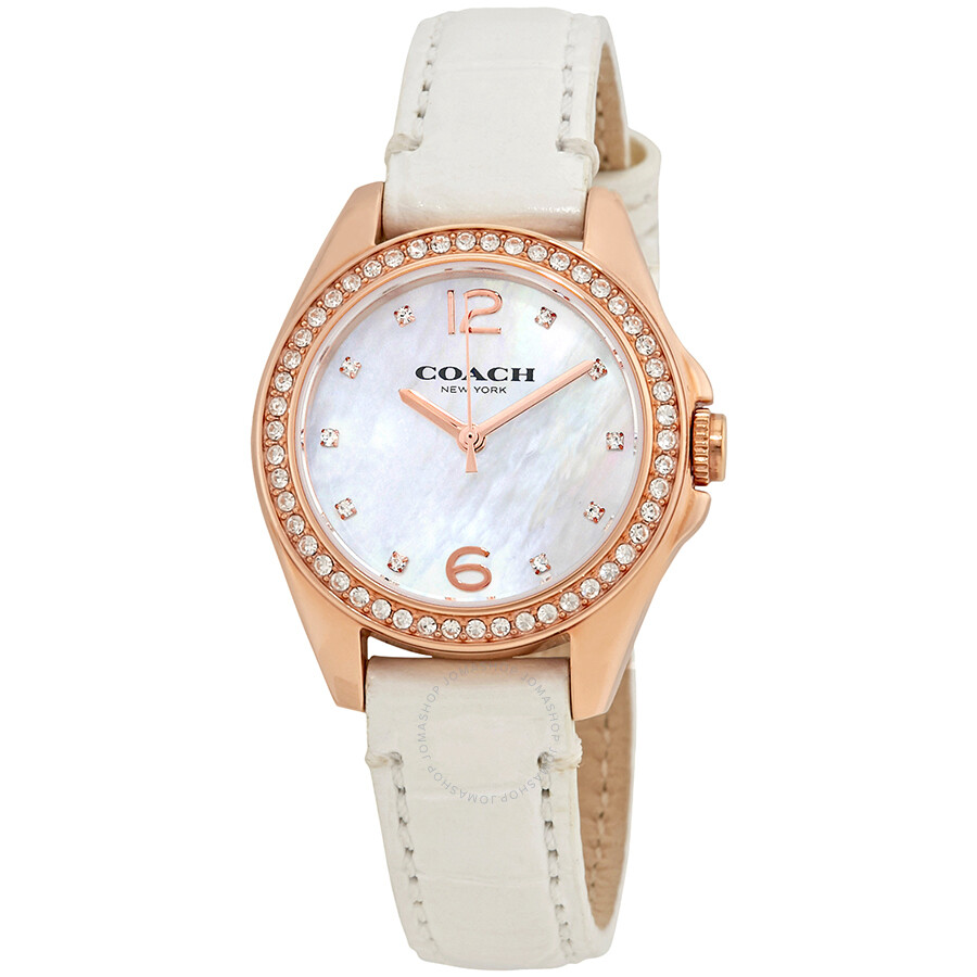 Coach Tristen Mother Of Pearl Dial Ladies Leather Watch 14502102