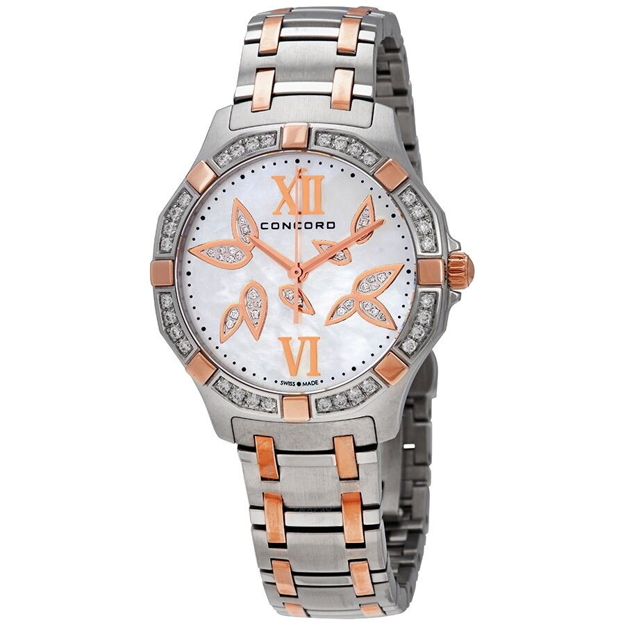 Concord Saratoga Diamond White Mother of Pearl Dial Ladies Watch 320307