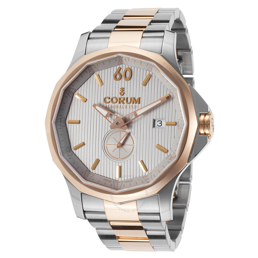 Corum Admiral's Cup Legend 42 Grey Dial Stainless Steel and 18k Rose Gold-tone Automatic Mens Watch