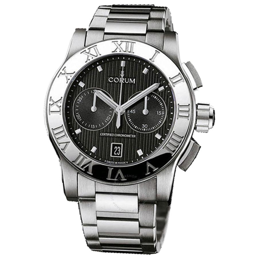 Corum Romulus Chronograph Black Dial Mens Watch 98471520/V810BN