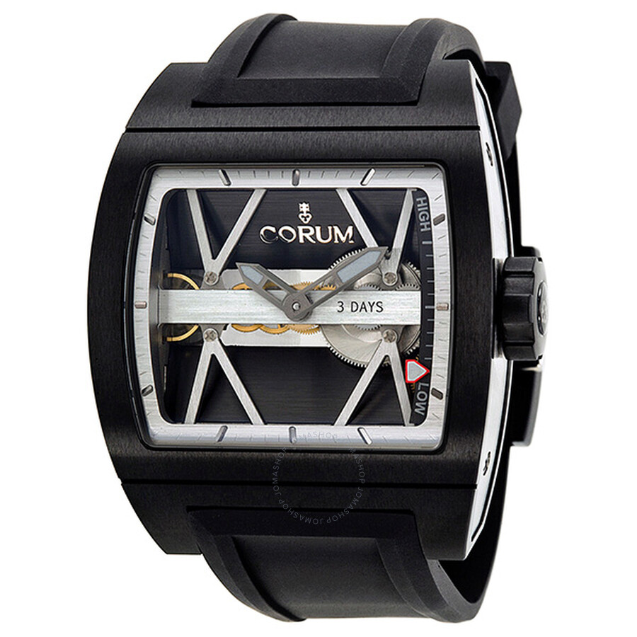 Corum Ti-Bridge 3 Day Automatic Charcoal Grey Openwork Dial Titanium Mens Watch 10710294F3710000