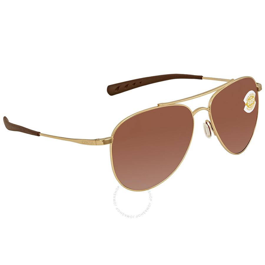 0b3e208df81 Costa Del Mar Cook Copper Silver Mirror 580P Aviator Sunglasses COO 126 OSCP