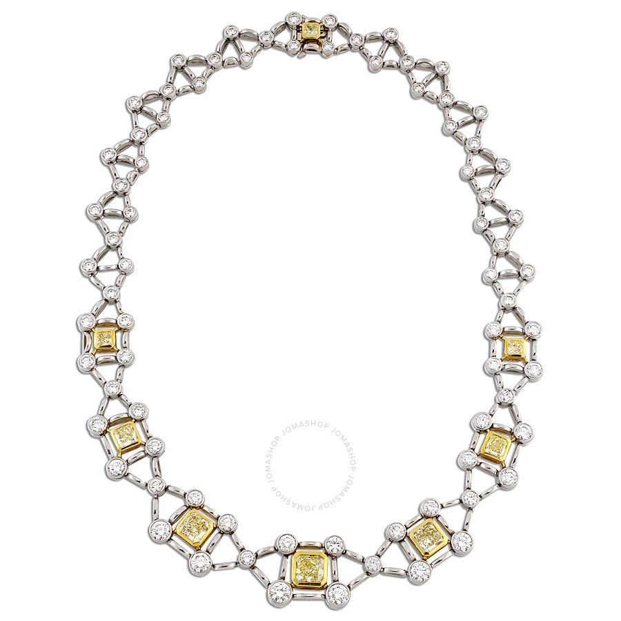 Criss Cross Railroad Diamond Necklace with Yellow  Radiant Diamonds 27.57 CT
