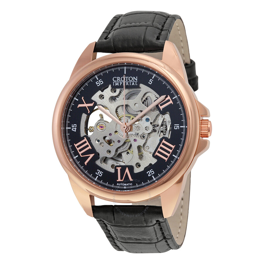 Croton Imperial Automatic Black Skeleton Dial Black Leather Mens Watch CI331090RGSK