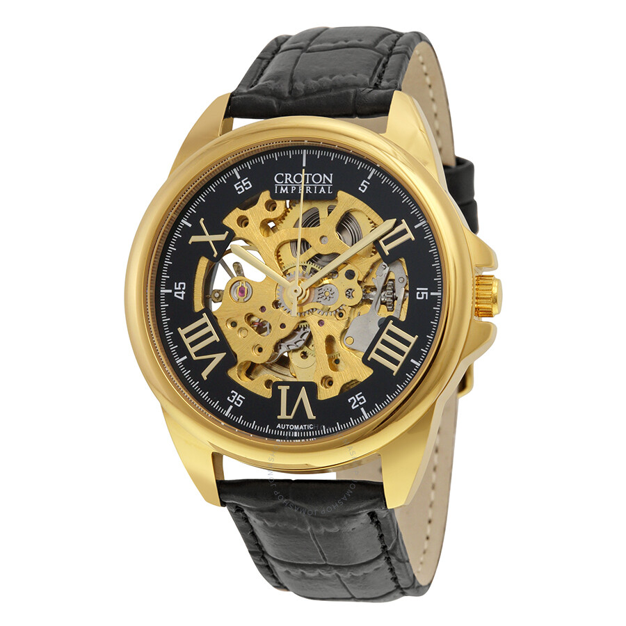 Croton Imperial Automatic Black Skeleton Dial Leather Strap Mens Watch CI331090YLSK