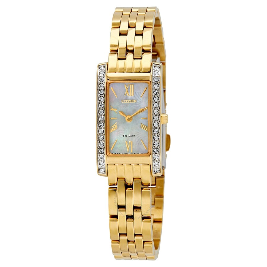 Citizen Silhouette Crystal White Mother of Pearl Dial Ladies Watch EX1472-56D