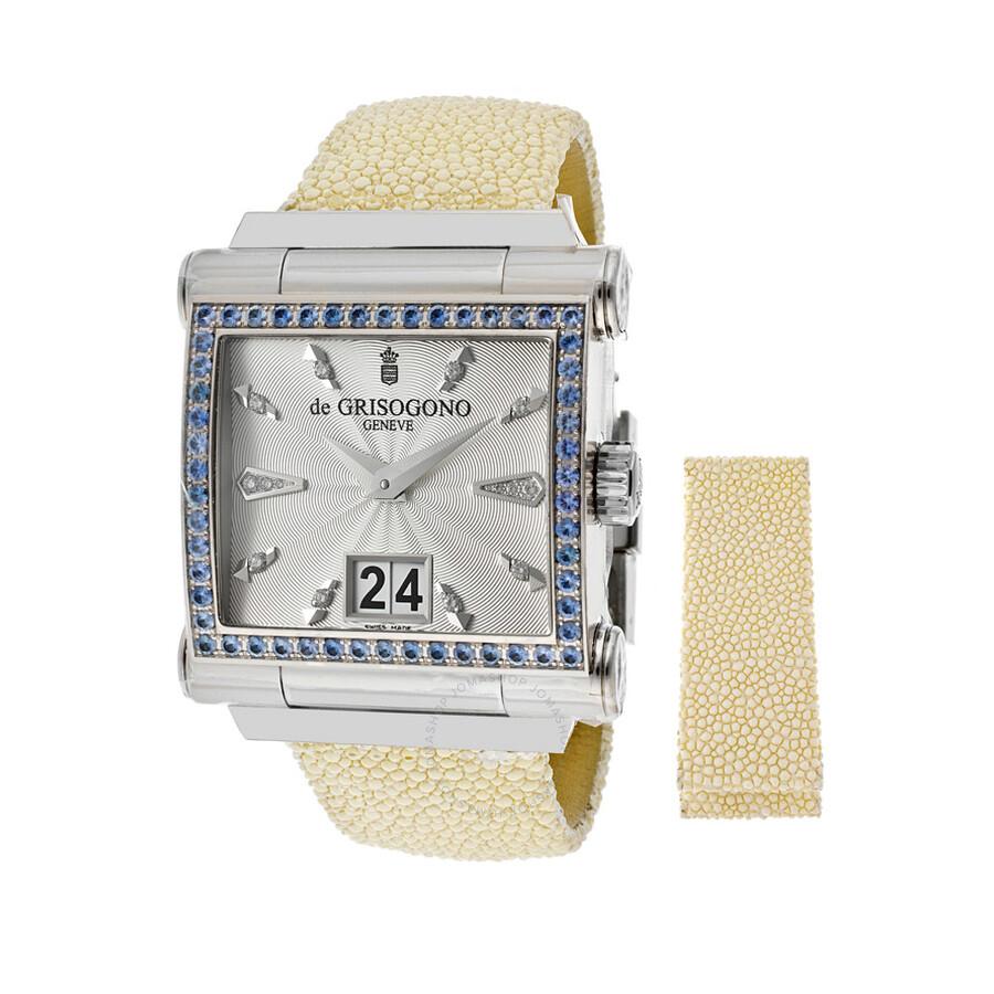 De Grisogono Instrumento Grande White Gold Sapphire Watch GRANDE S04