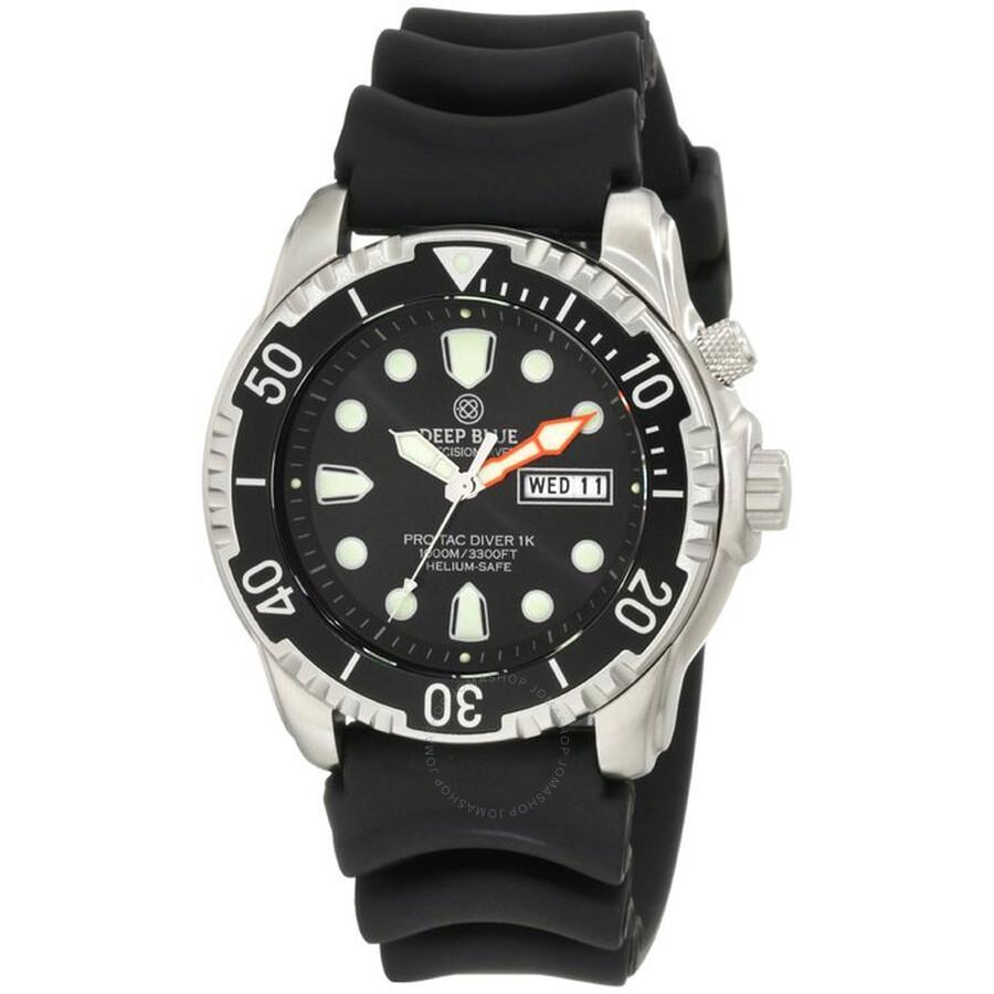 Deep Blue ProTac Diver Black Dial Black Polyurethane Strap Mens Watch PTDVR1KBLK