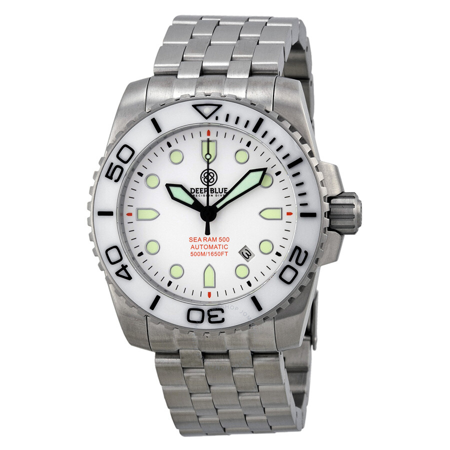 Deep Blue Sea Ram Automatic White Dial Stainless Steel Mens Watch SRAWD