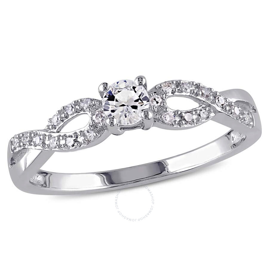 Delmar 1/10 CT TW Diamond and Created White Sapphire Infinity Ring in Sterli..