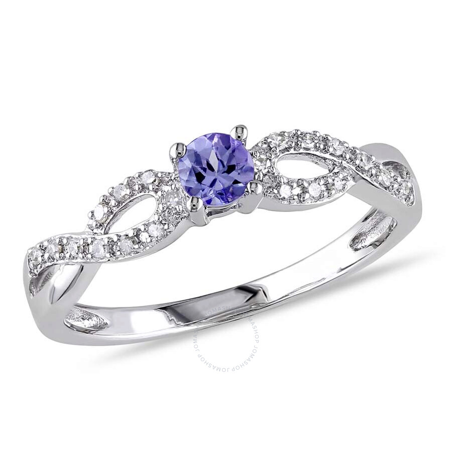 Delmar 1/10 CT TW Diamond and Tanzanite Infinity Ring in Sterling Silver - S..