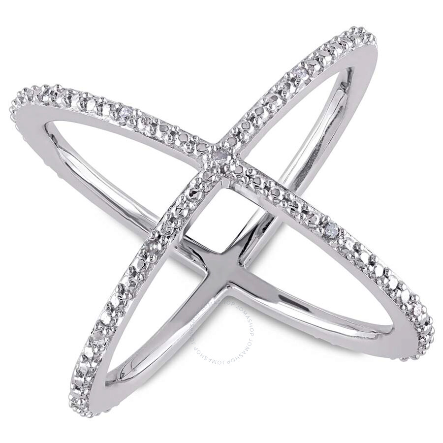 Delmar 1/10 CT TW Diamond Split Shank Crisscross Ring in Sterling Silver - S..