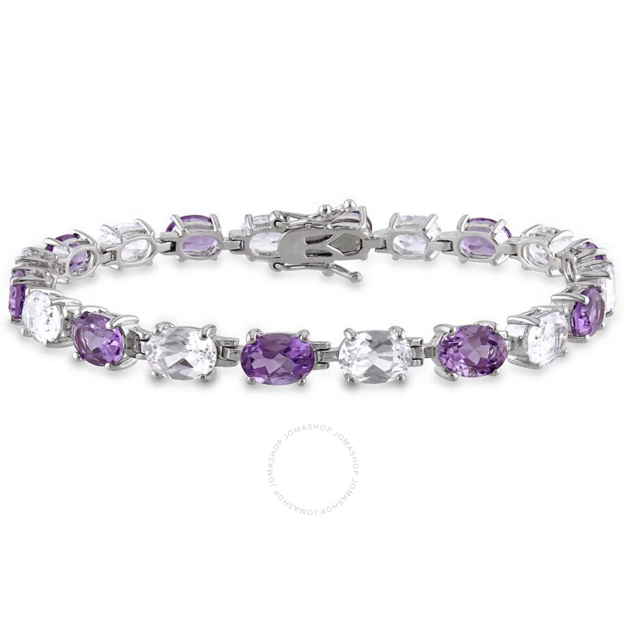 Delmar 19 3/4 CT TGW Amethyst and Created White Sapphire Oval Link Bracelet ..