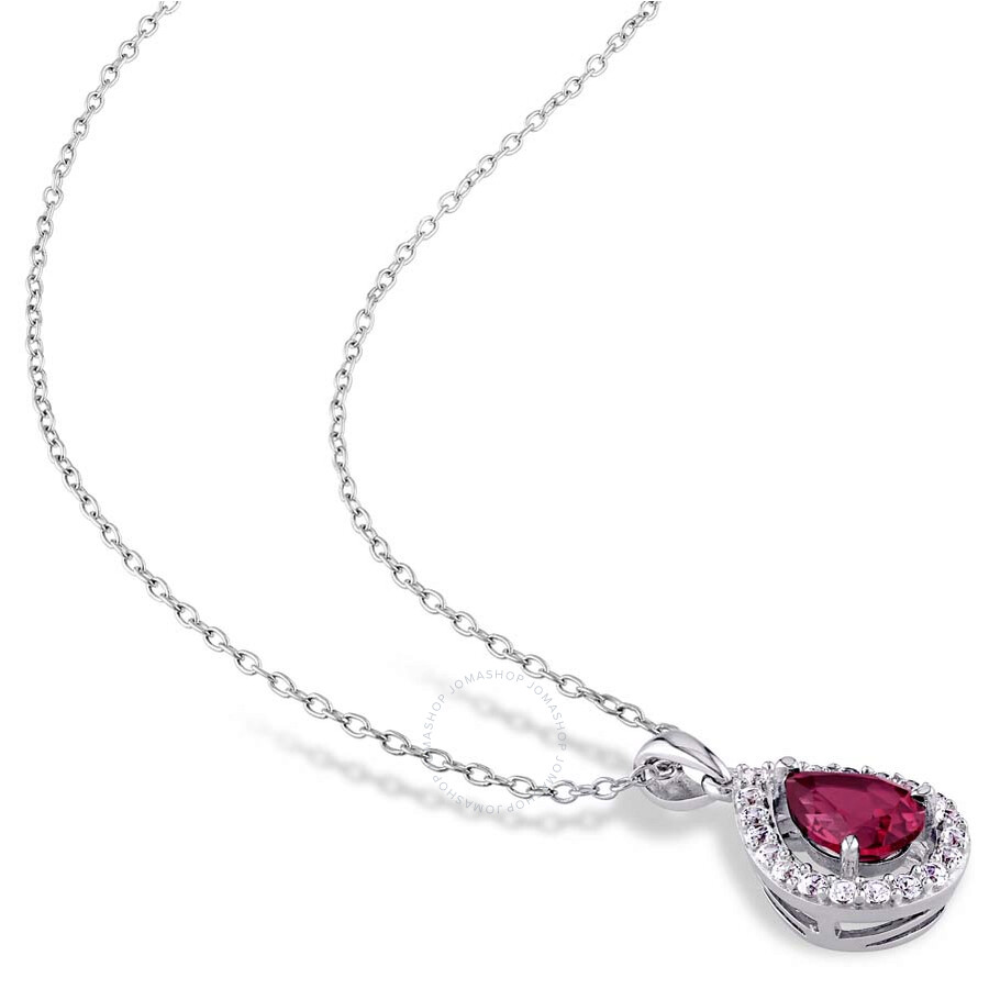 Delmar 4 78 ct tgw created ruby and created white sapphire teardrop delmar 4 78 ct tgw created ruby and created white sapphire teardrop halo pendant aloadofball Choice Image