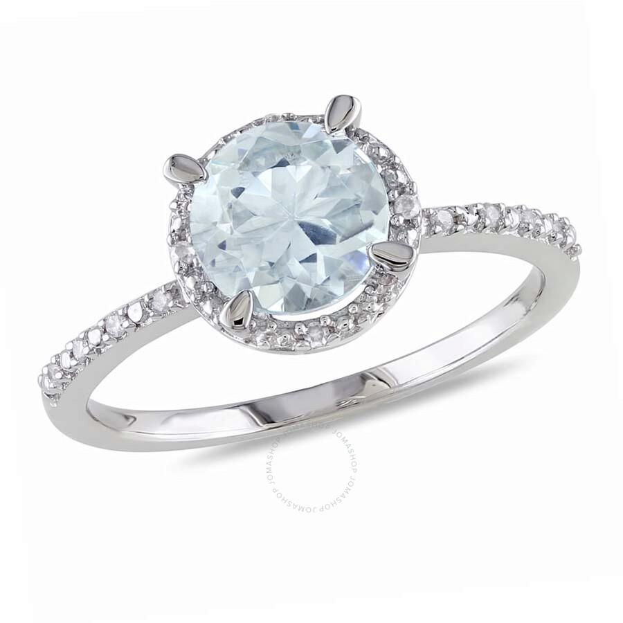 Delmar Aquamarine and Diamond Accent Halo Ring in Sterling Silver - Size 7