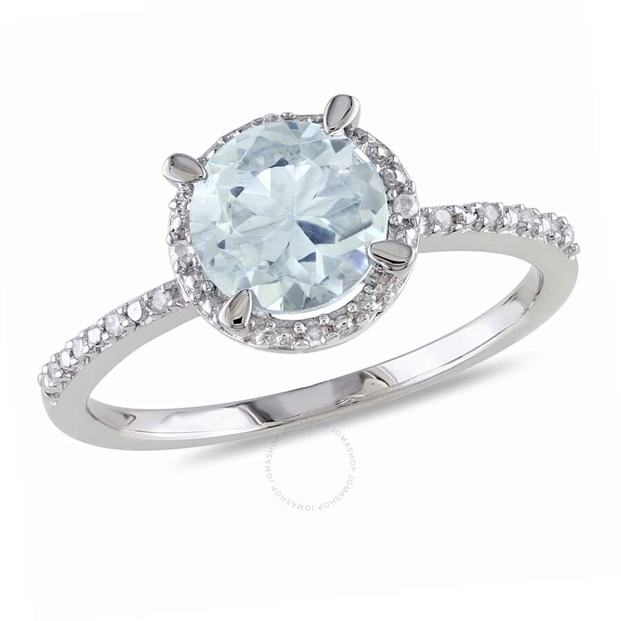 Delmar Aquamarine and Diamond Accent Halo Ring in Sterling Silver - Size 8