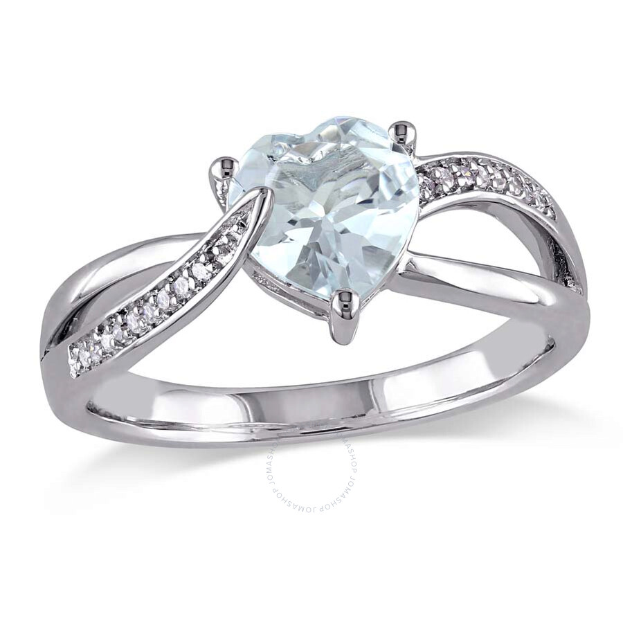 Delmar Aquamarine and Diamond Heart Crossover Ring in Sterling Silver - Size 6