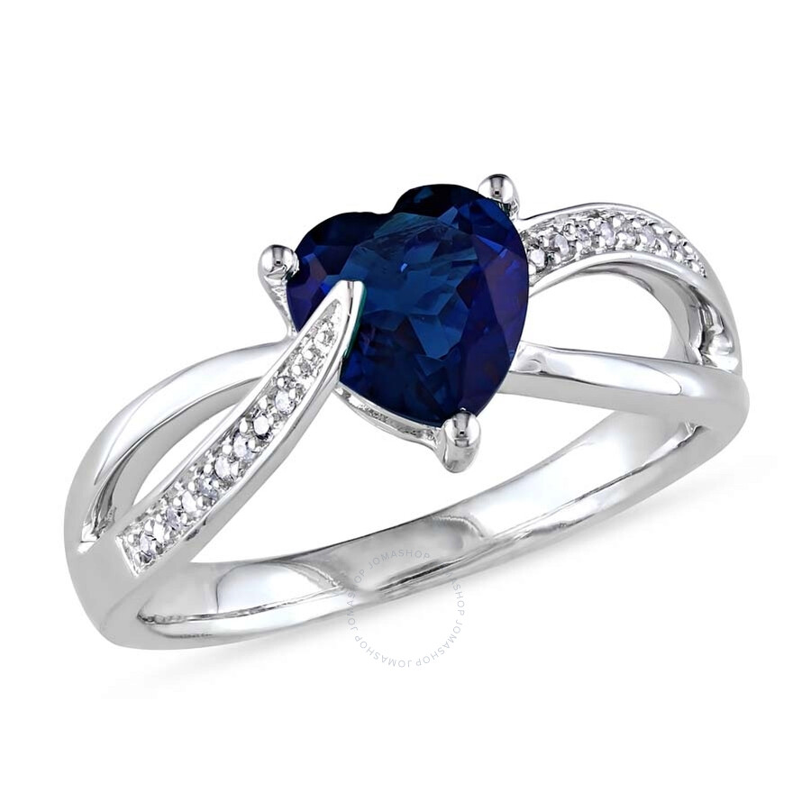 Delmar Created Blue Sapphire and Diamond Heart Crossover Ring in Sterling Si..