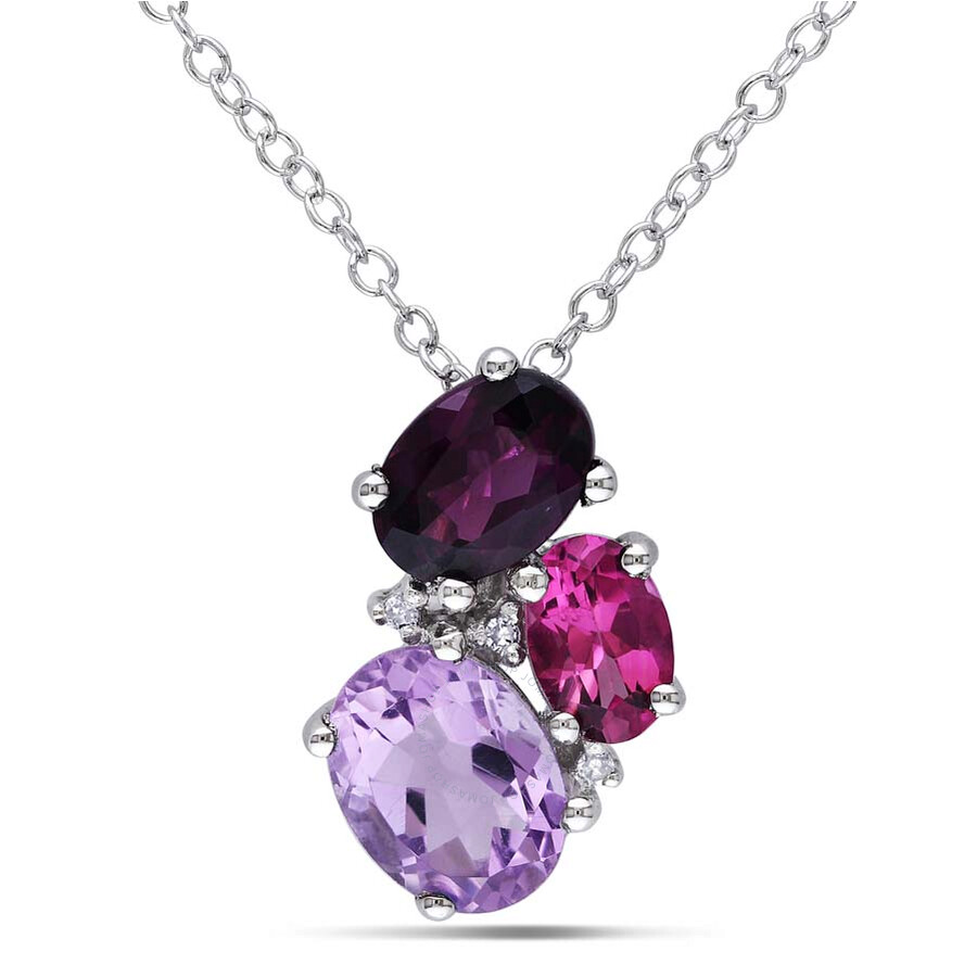 Delmar Diamond, Amethyst, Rhodolite, and Pink Tourmaline Pendant with Chain ..