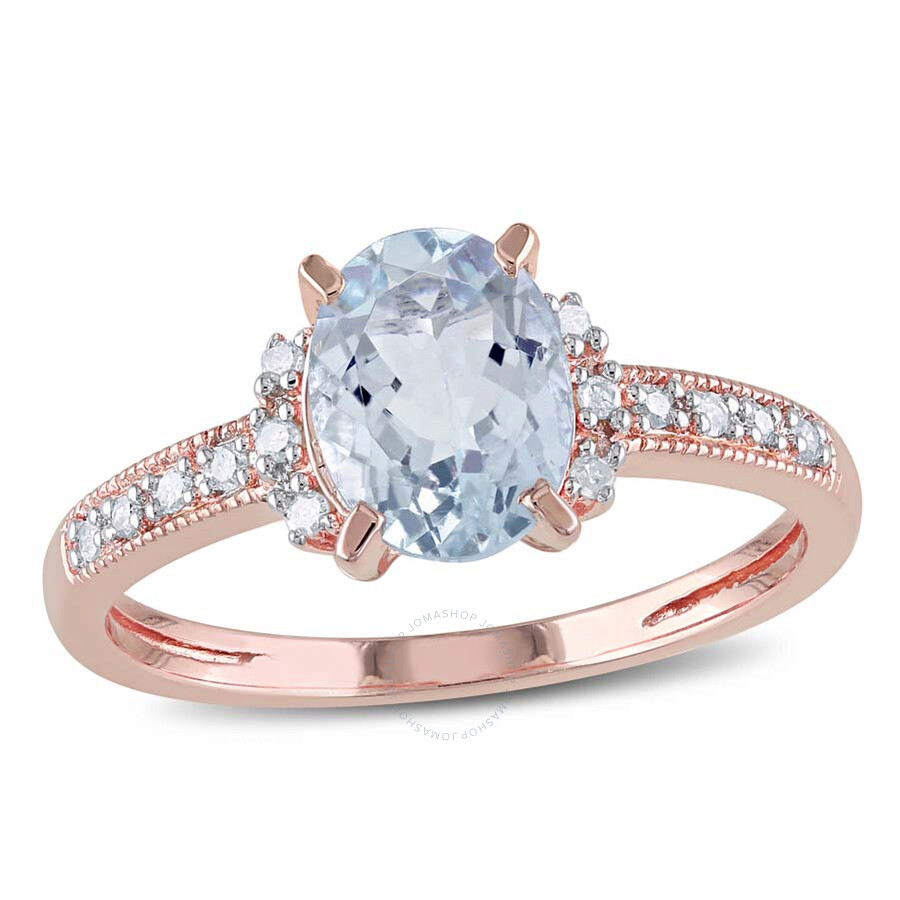 Delmar Oval Cut Aquamarine and Diamond Ring in Rose Plated Sterling Silver -..