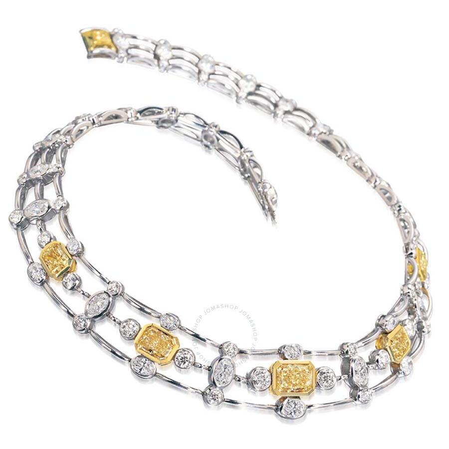 Diamond Railroad Style Necklace with Yellow Diamonds 36.43 ct.
