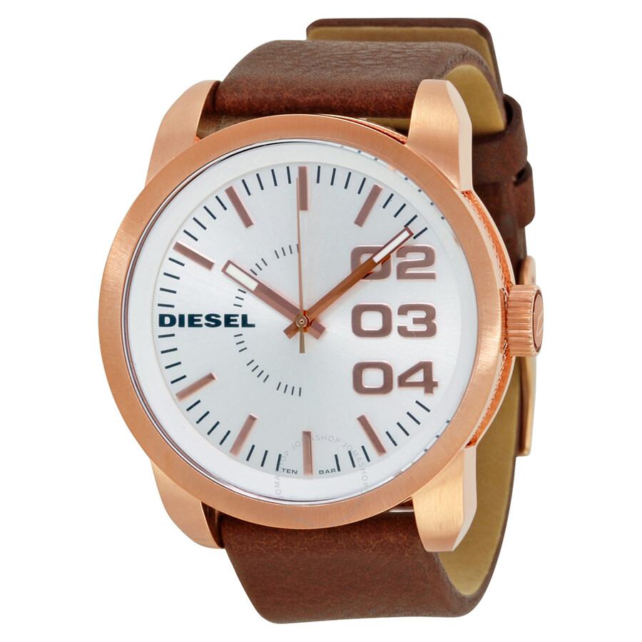 Diesel Double Down White Dial Dark Brown Leather Mens Watch DZ1665