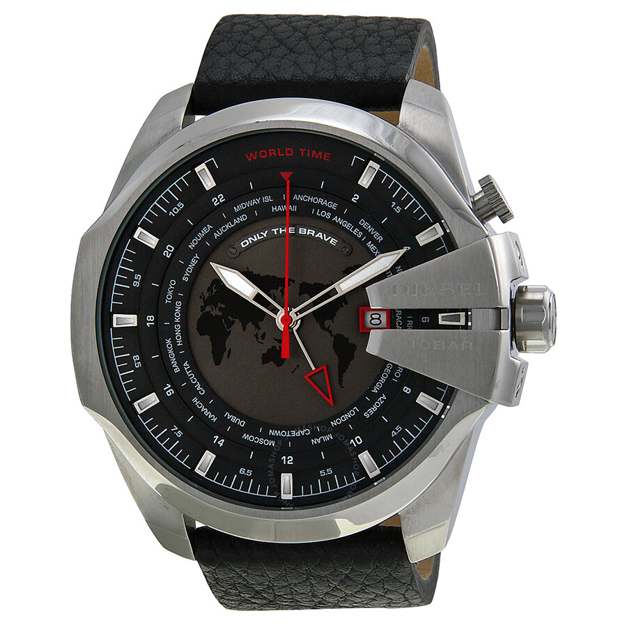 watch s mega black diesel dial quartz watches men chief leather