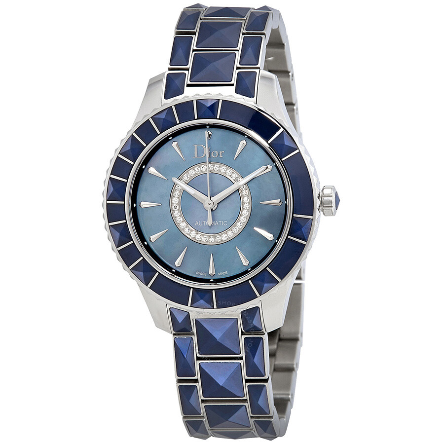 Dior Christal Blue Mother of Pearl Dial Stainless Steel Ladies Watch CD144517M001