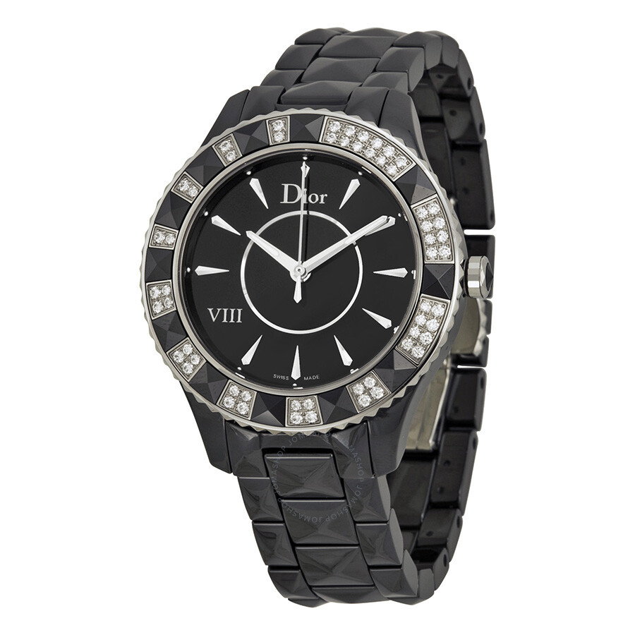 Dior VIII Christal Diamond Black Ceramic Ladies Watch CD1241E0C001 at Jomashop.com & JomaDeals.com