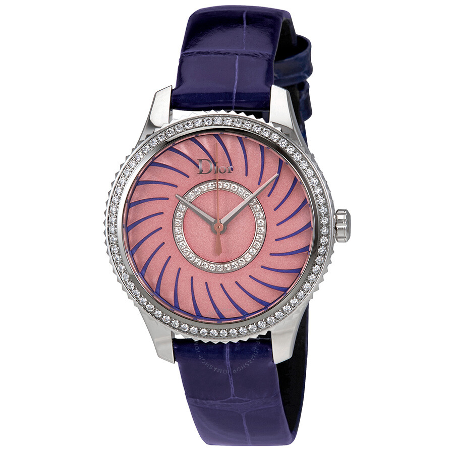 Dior VIII Montaigne Pink Opaline Dial Diamond Ladies Watch ...