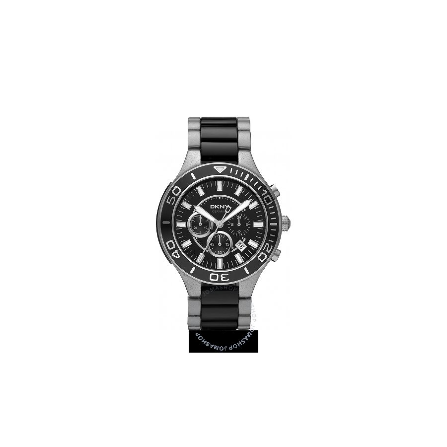 DKNY Chrongraph Black Dial Stainless Steel and Ceramic Mens Watch NY1489