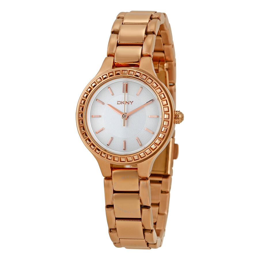 Dkny chambers white dial rose gold tone ladies watch ny2222 dkny watches jomashop for Dkny watches