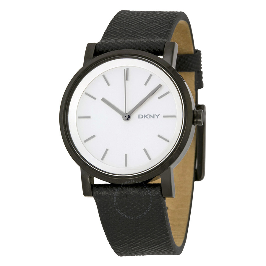 DKNY Silver Dial Black Saffiano Leather Ladies Watch NY2186