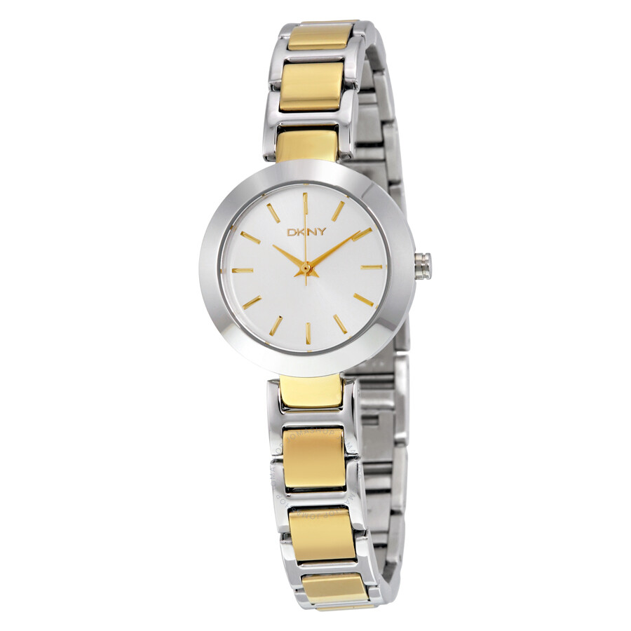 Dkny stanhope silver dial two tone ladies watch ny2401 dkny watches jomashop for Dkny watches
