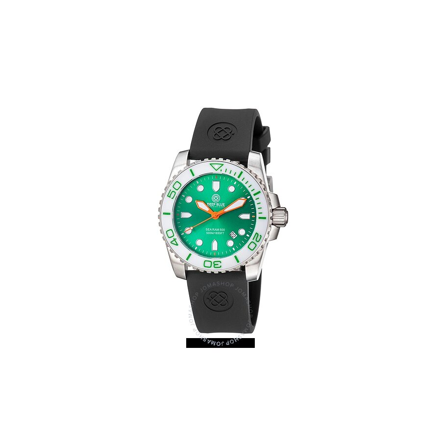 Deep Blue Sea Ram 500 Quartz Green Enamel Dial White Ceramic Bezel Mens Watch SRQWGREN