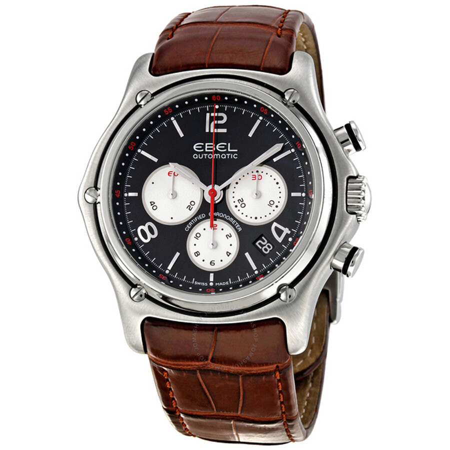 Ebel 1911 Black Dial Chronograph Brown Leather Mens Watch 9137260/25535134
