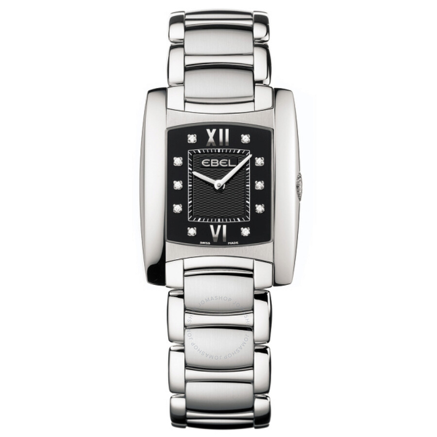Ebel Brasilia Black Dial Stainless Steel Ladies Watch 1215775