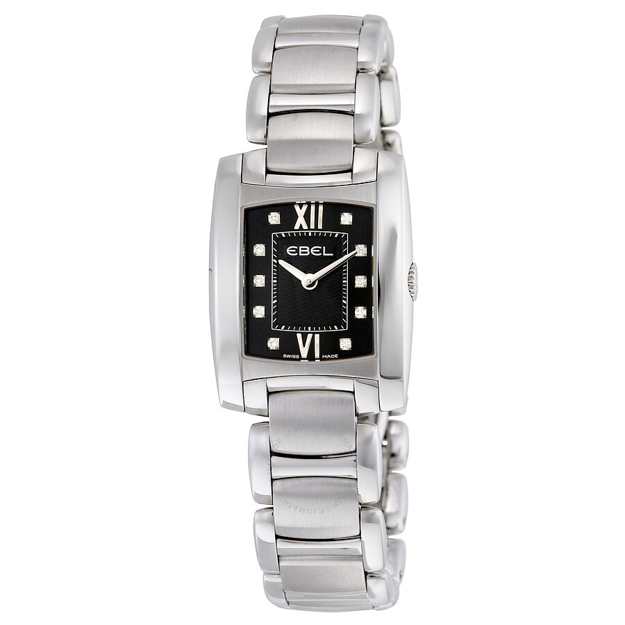 Ebel Brasilia Black Diamond Dial Stainless Steel Ladies Watch 1215666