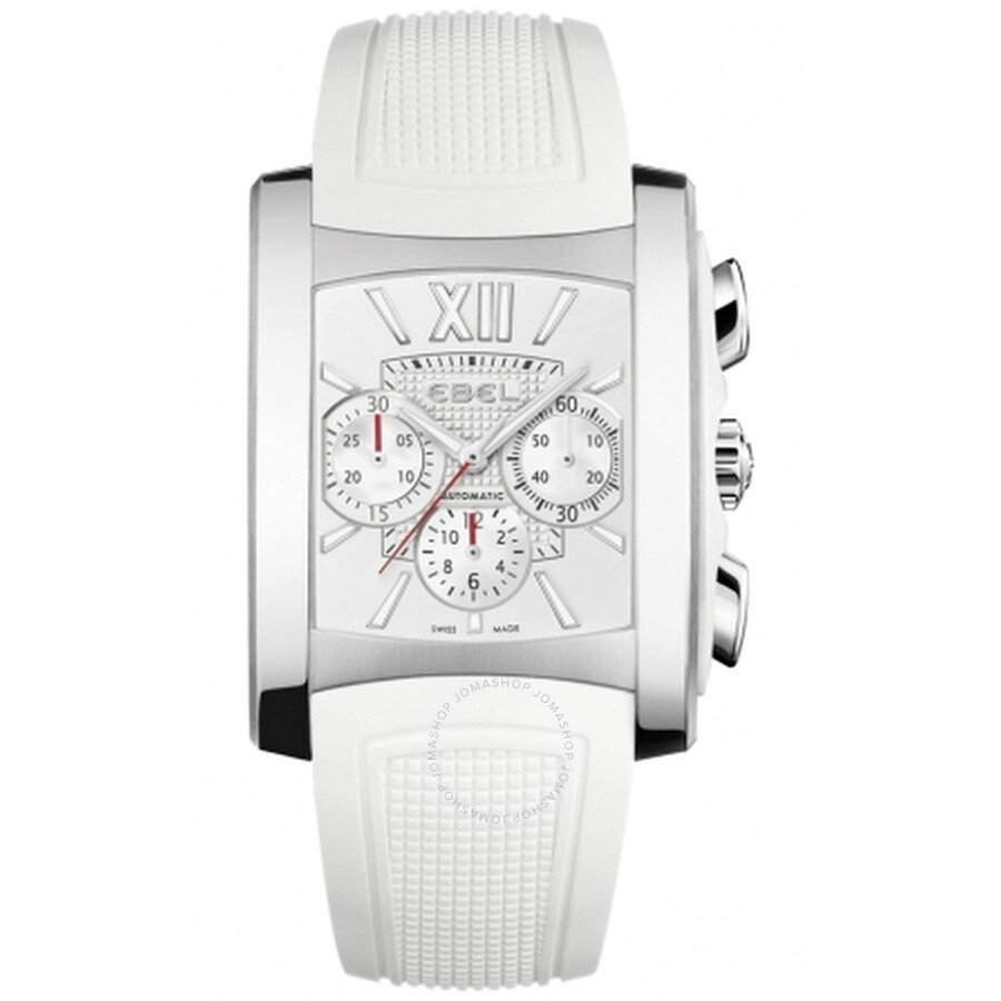 Ebel Brasilia Mother of Pearl Dial Chronograph White Rubber Mens Watch 1215702